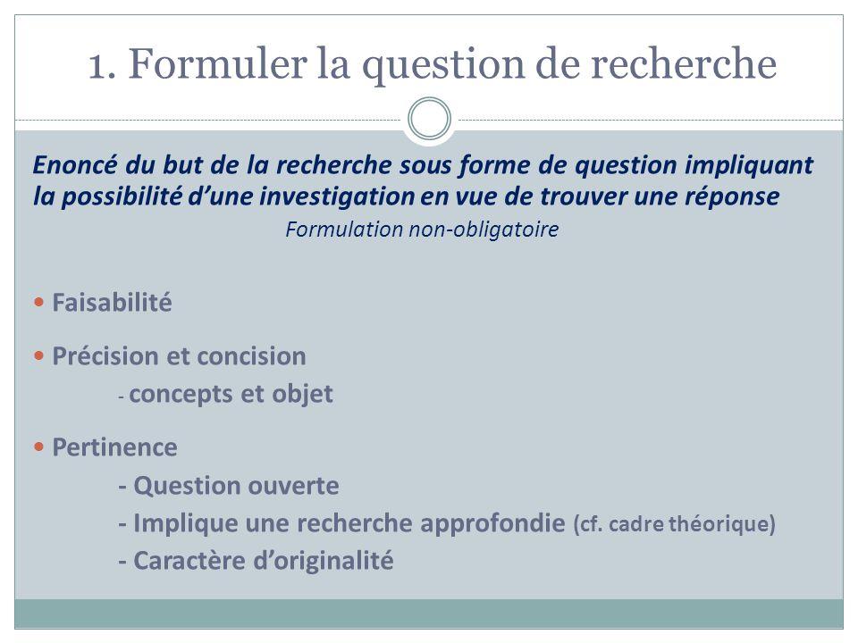 1. Formuler la question de recherche Enoncé du but de la recherche sous forme de question impliquant la possibilité dune investigation en vue de trouv