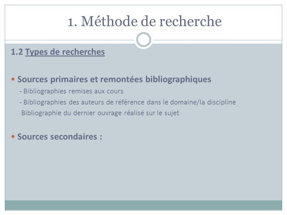 1. Méthode de recherche 1.2 Types de recherches Sources primaires et remontées bibliographiques - Bibliographies remises aux cours - Bibliographies de