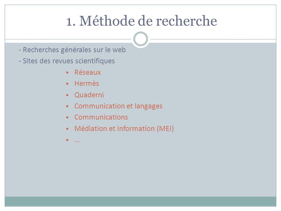 1. Méthode de recherche - Recherches générales sur le web - Sites des revues scientifiques Réseaux Hermès Quaderni Communication et langages Communica