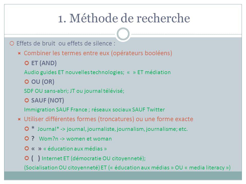 1. Méthode de recherche Effets de bruit ou effets de silence : Combiner les termes entre eux (opérateurs booléens) ET (AND) Audio guides ET nouvelles