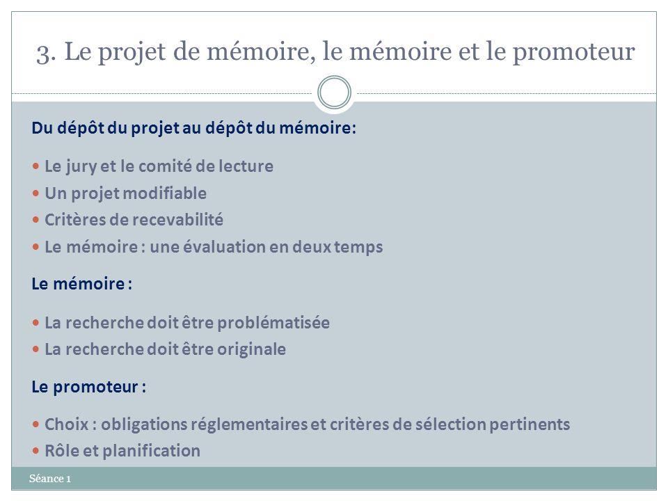 3. Le projet de mémoire, le mémoire et le promoteur Séance 1 Du dépôt du projet au dépôt du mémoire: Le jury et le comité de lecture Un projet modifia