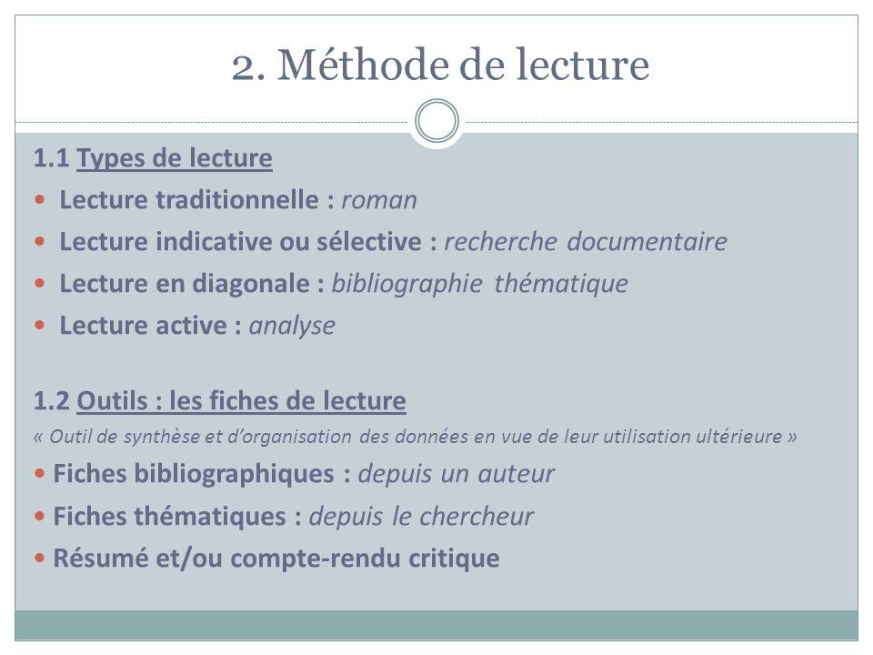 2. Méthode de lecture 1.1 Types de lecture Lecture traditionnelle : roman Lecture indicative ou sélective : recherche documentaire Lecture en diagonal