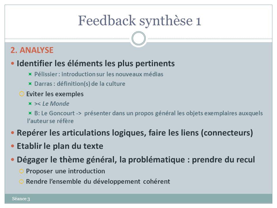 Feedback synthèse 1 Séance 3 2. ANALYSE Identifier les éléments les plus pertinents Pélissier : introduction sur les nouveaux médias Darras : définiti
