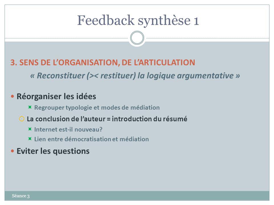 Feedback synthèse 1 Séance 3 3. SENS DE LORGANISATION, DE LARTICULATION « Reconstituer (>< restituer) la logique argumentative » Réorganiser les idées