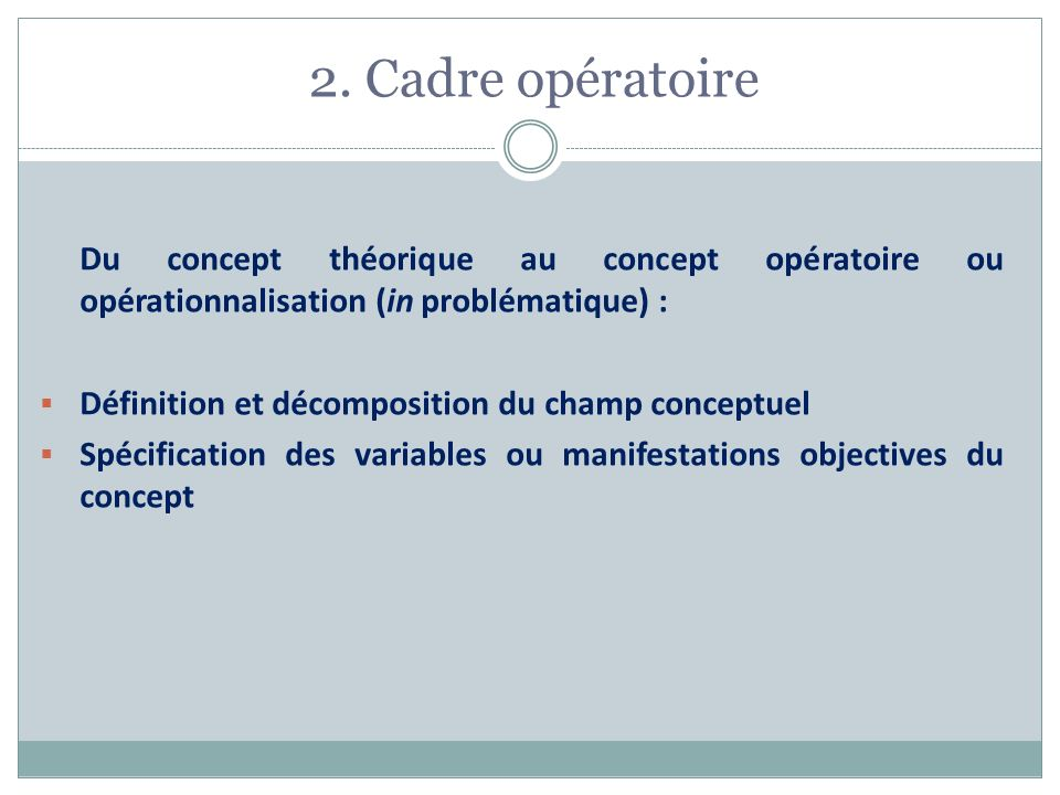 2. Cadre opératoire Du concept théorique au concept opératoire ou opérationnalisation (in problématique) : Définition et décomposition du champ concep