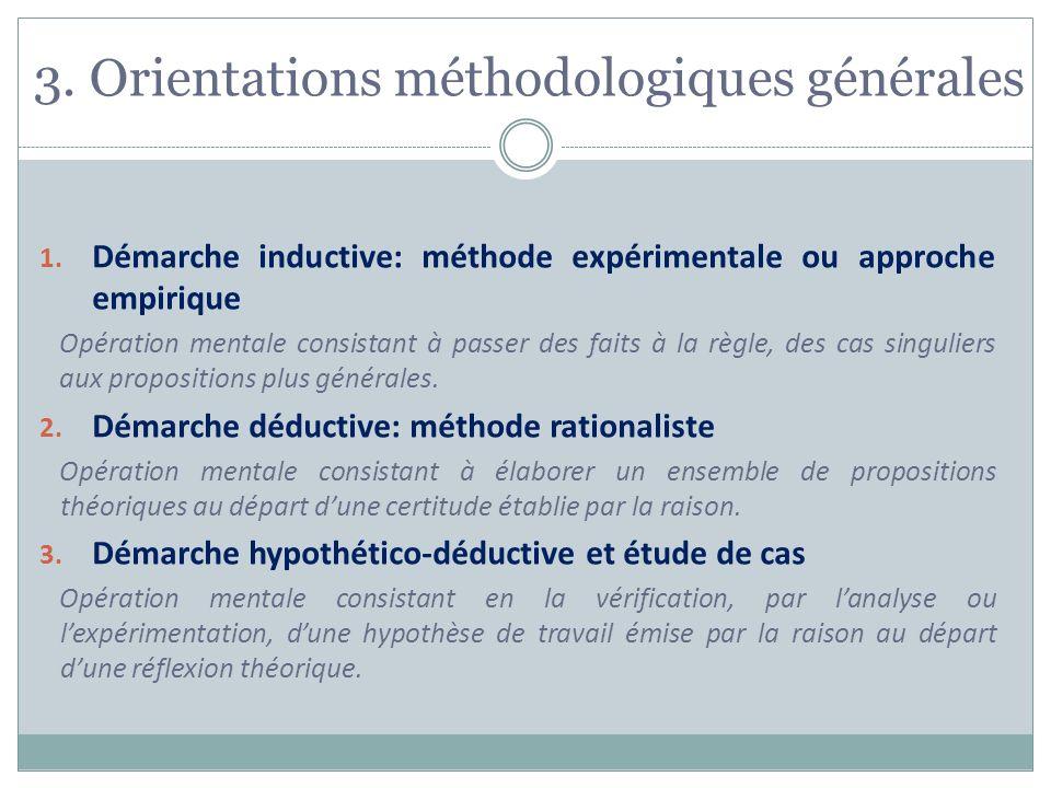 3. Orientations méthodologiques générales 1. Démarche inductive: méthode expérimentale ou approche empirique Opération mentale consistant à passer des