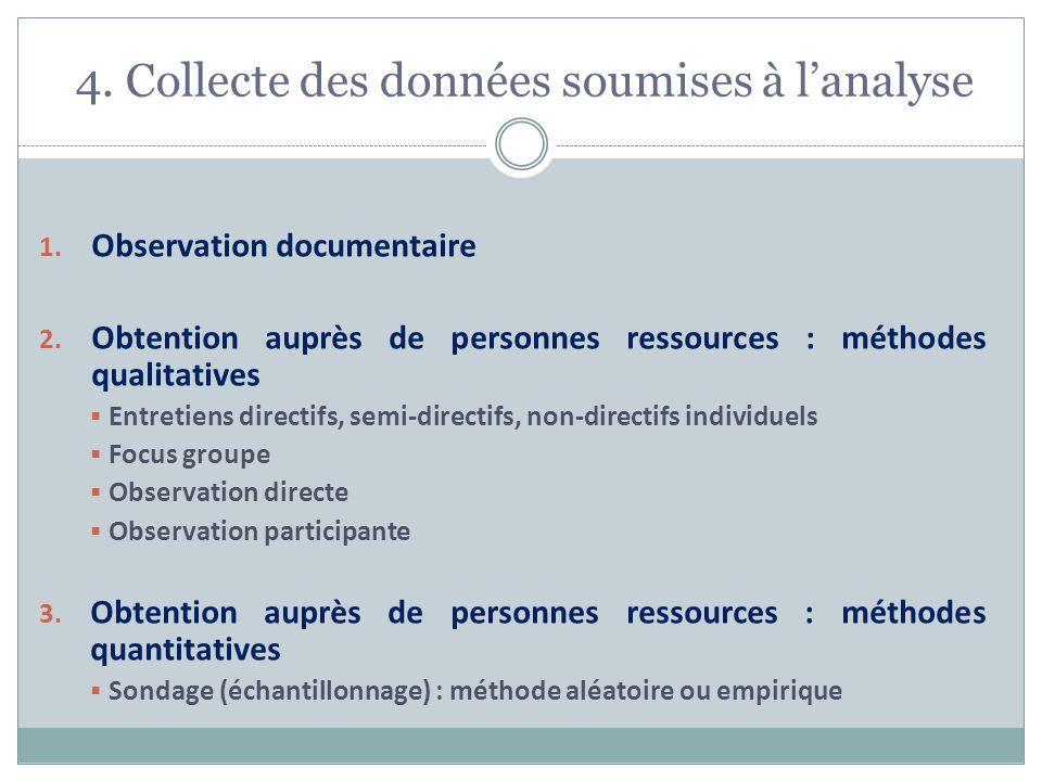 4. Collecte des données soumises à lanalyse 1. Observation documentaire 2. Obtention auprès de personnes ressources : méthodes qualitatives Entretiens