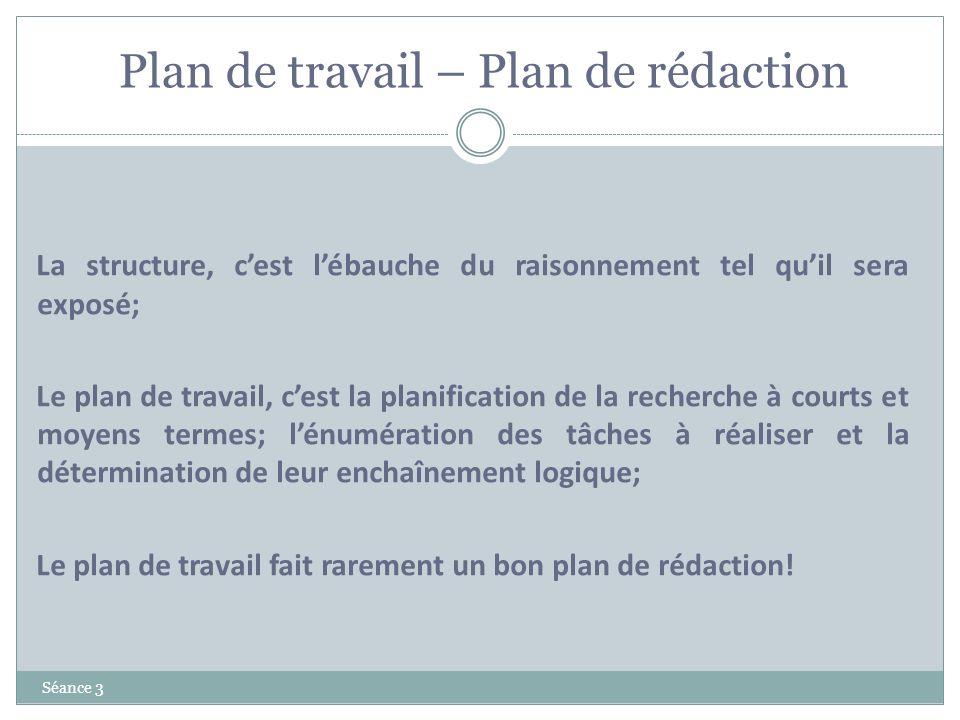 Plan de travail – Plan de rédaction Séance 3 La structure, cest lébauche du raisonnement tel quil sera exposé; Le plan de travail, cest la planificati