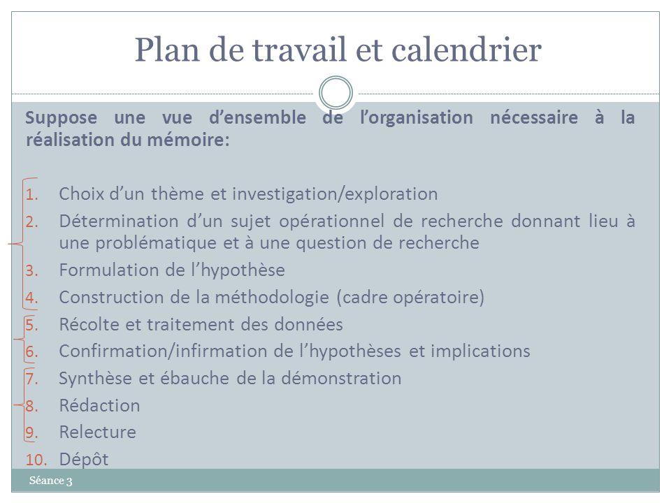 Plan de travail et calendrier Séance 3 Suppose une vue densemble de lorganisation nécessaire à la réalisation du mémoire: 1. Choix dun thème et invest
