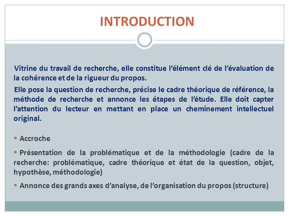 INTRODUCTION Vitrine du travail de recherche, elle constitue lélément clé de lévaluation de la cohérence et de la rigueur du propos.