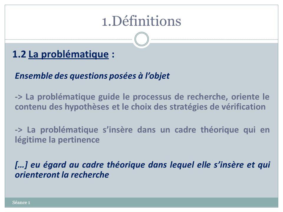 1.Définitions Séance 1 1.2 La problématique : Ensemble des questions posées à lobjet -> La problématique guide le processus de recherche, oriente le c
