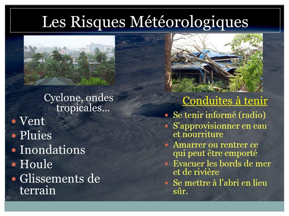 Cyclone, ondes tropicales... Conduites à tenir Les Risques Météorologiques Vent Pluies Inondations Houle Glissements de terrain Se tenir informé (radi
