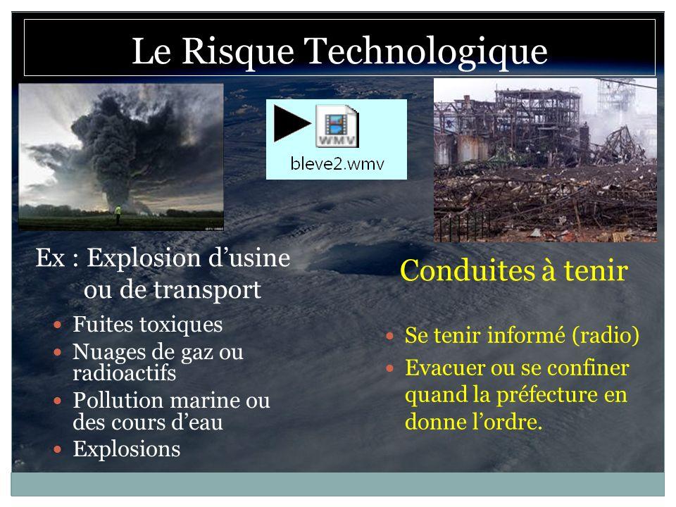 Ex : Explosion dusine ou de transport Conduites à tenir Fuites toxiques Nuages de gaz ou radioactifs Pollution marine ou des cours deau Explosions Se