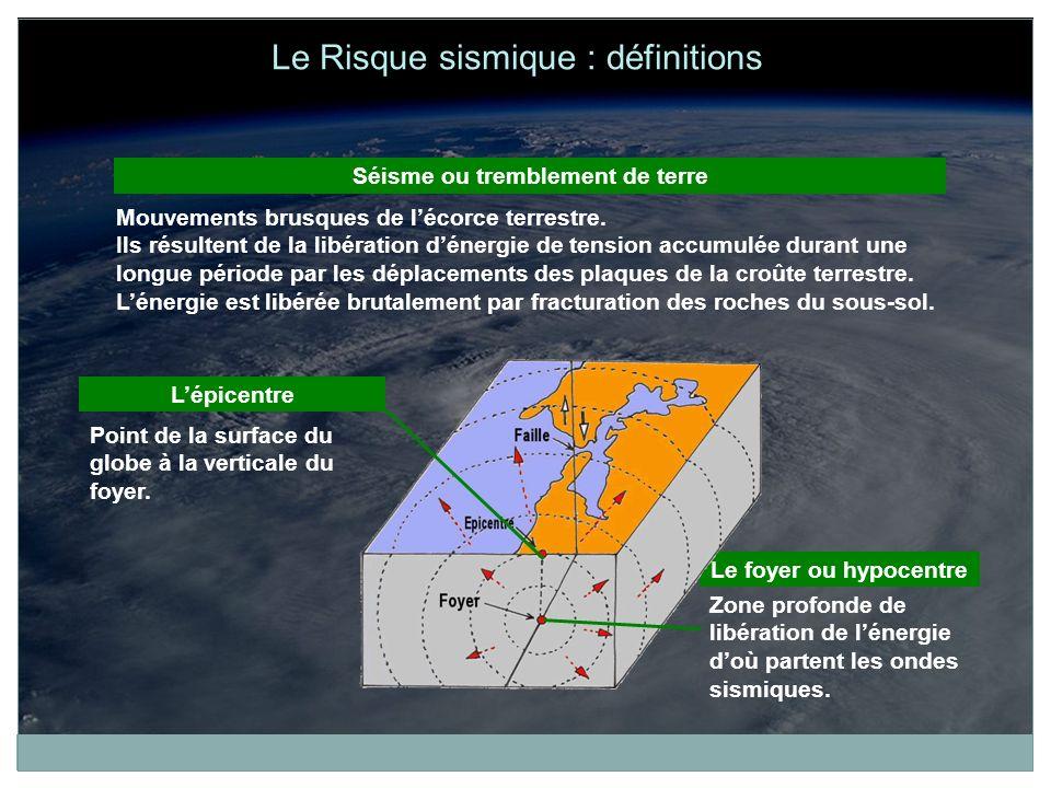 Séisme ou tremblement de terre Mouvements brusques de lécorce terrestre. Ils résultent de la libération dénergie de tension accumulée durant une longu