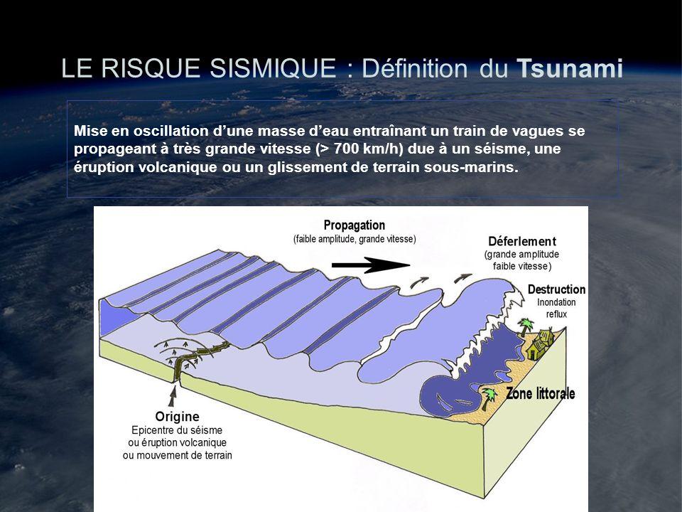 LE RISQUE SISMIQUE : Définition du Tsunami Mise en oscillation dune masse deau entraînant un train de vagues se propageant à très grande vitesse (> 70