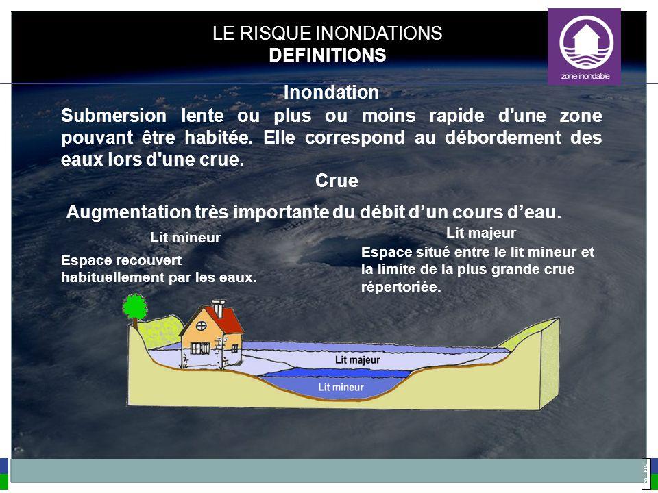 RN - 63 Submersion lente ou plus ou moins rapide d'une zone pouvant être habitée. Elle correspond au débordement des eaux lors d'une crue. Espace reco