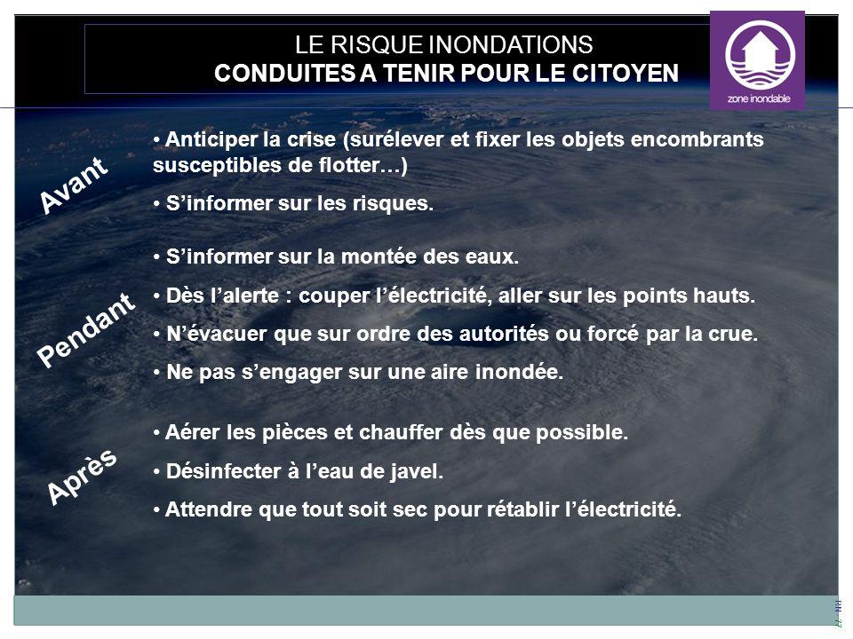 RN - 77 LE RISQUE INONDATIONS CONDUITES A TENIR POUR LE CITOYEN Anticiper la crise (surélever et fixer les objets encombrants susceptibles de flotter…