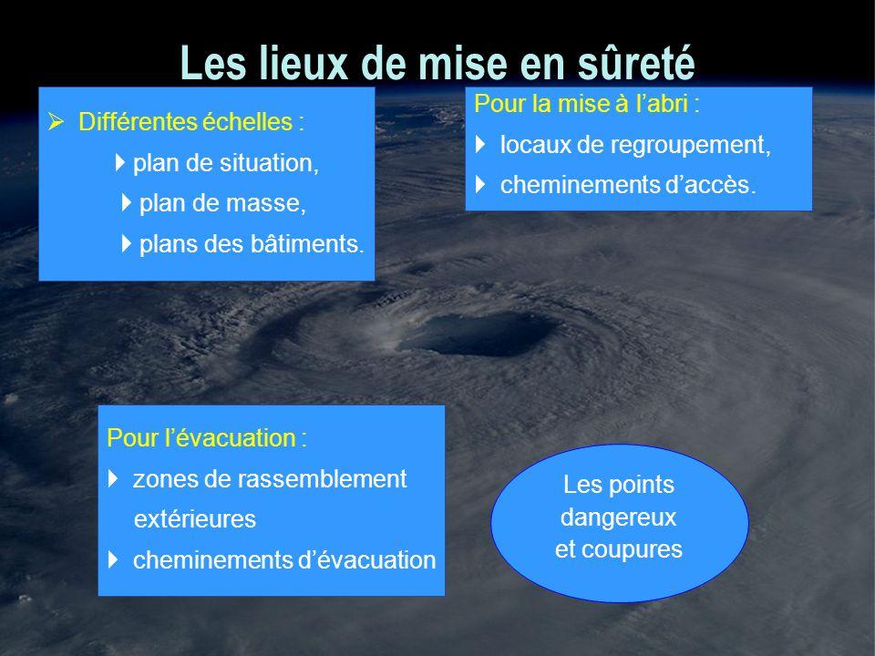 Les lieux de mise en sûreté Différentes échelles : plan de situation, plan de masse, plans des bâtiments. Pour lévacuation : zones de rassemblement ex