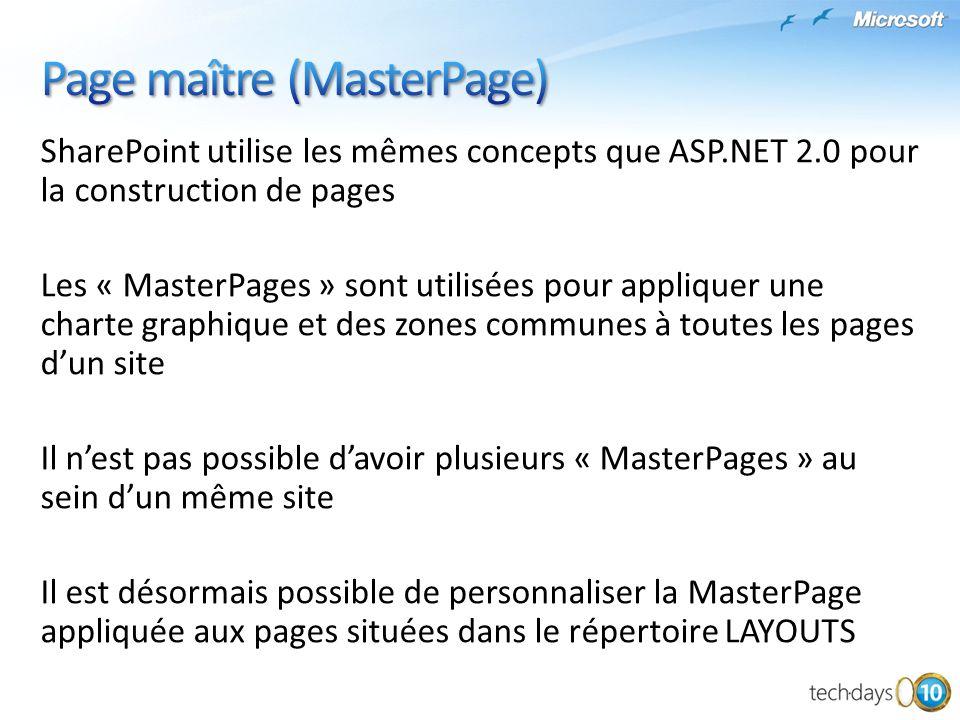 SharePoint utilise les mêmes concepts que ASP.NET 2.0 pour la construction de pages Les « MasterPages » sont utilisées pour appliquer une charte graph