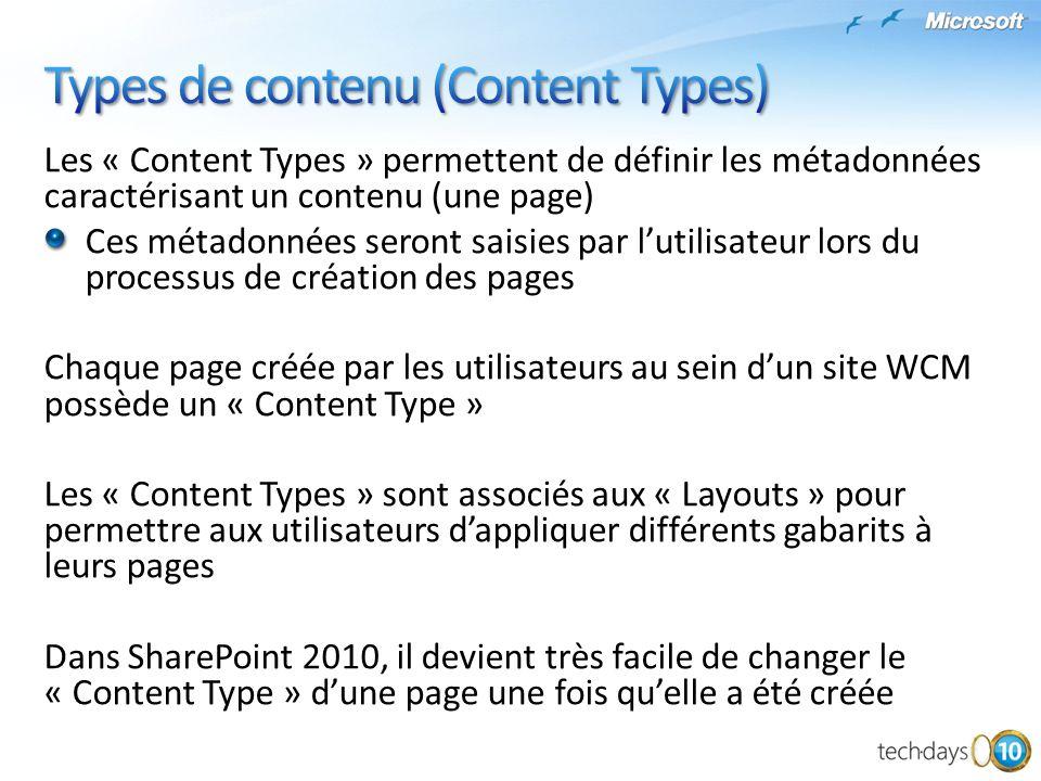 Les « Content Types » permettent de définir les métadonnées caractérisant un contenu (une page) Ces métadonnées seront saisies par lutilisateur lors d