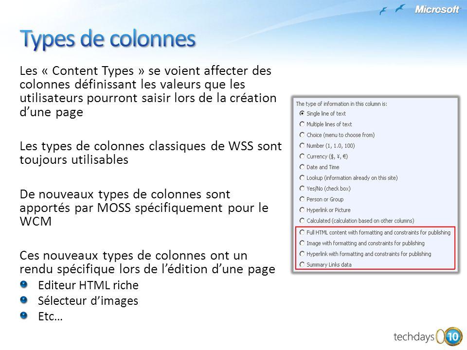 Les « Content Types » se voient affecter des colonnes définissant les valeurs que les utilisateurs pourront saisir lors de la création dune page Les t