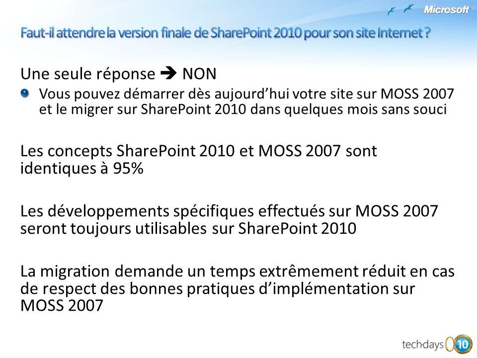 Une seule réponse NON Vous pouvez démarrer dès aujourdhui votre site sur MOSS 2007 et le migrer sur SharePoint 2010 dans quelques mois sans souci Les