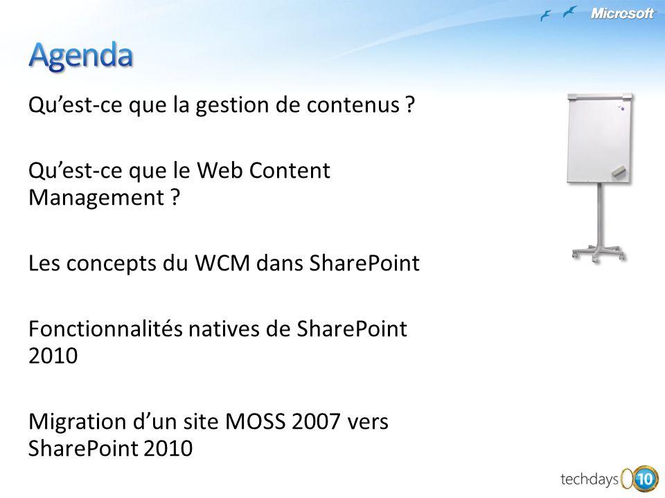 Quest-ce que la gestion de contenus ? Quest-ce que le Web Content Management ? Les concepts du WCM dans SharePoint Fonctionnalités natives de SharePoi