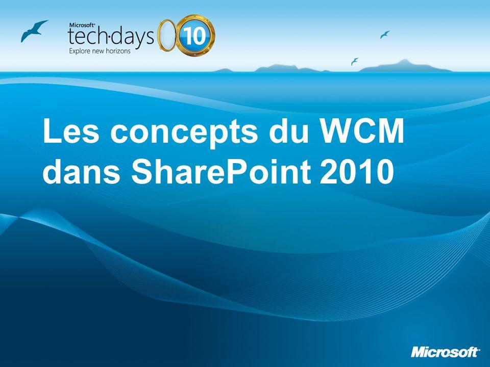 Les Webcontrols sont à déclarer lors de la phase de création de la page Permet de garantir luniformité des pages Requiert du développement.NET Effort positionné côté développeur et non pas contributeur Microsoft recommande la mise en œuvre des Webcontrols pour les sites WCM Il est possible de mixer Webparts et Webcontrols