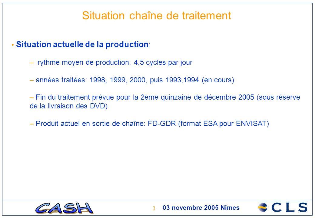 4 03 novembre 2005 Nîmes Situation chaîne de traitement Implémentation Jason : – Développement sous SUN/SOLARIS validé – Portage sous Linux en cours – résultats 19/09/05 sur trace 063 (Manaus) peu encourageants – réunion avec le CNES (N.