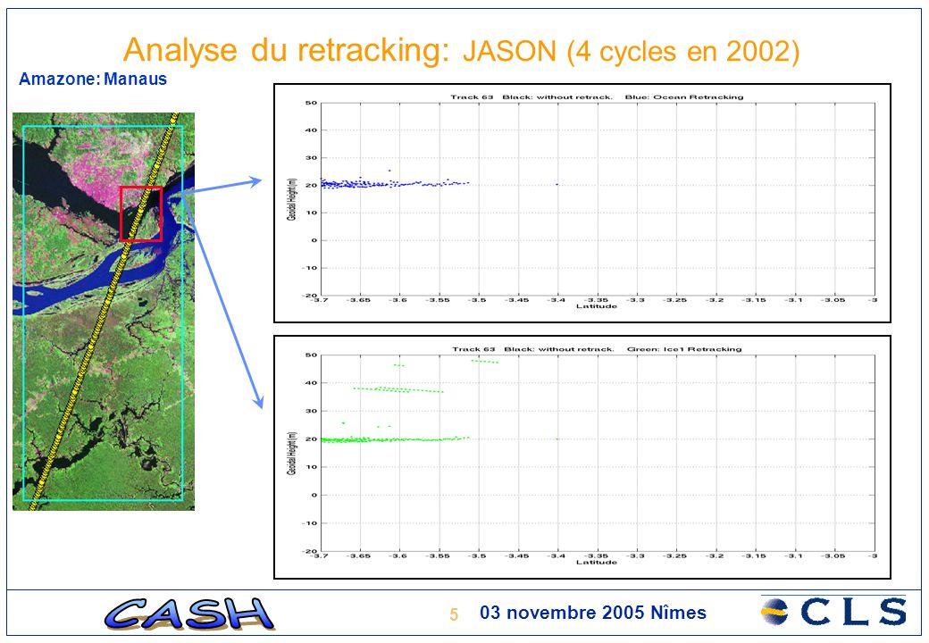 6 03 novembre 2005 Nîmes Amazone: Manaus Analyse du retracking: JASON (4 cycles en 2002)