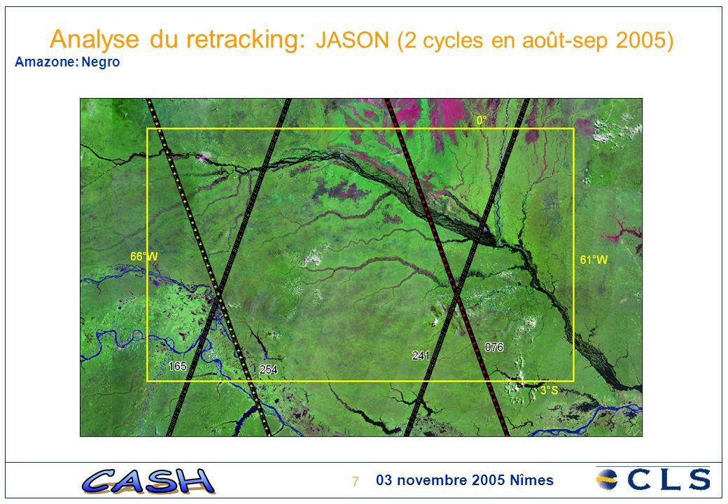 8 03 novembre 2005 Nîmes Amazone: Negro Analyse du retracking: JASON (2 cycles en août-sep 2005)