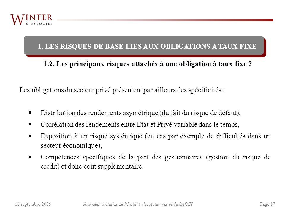 Journées détudes de lInstitut des Actuaires et du SACEI Page 1716 septembre 2005 1.2. Les principaux risques attachés à une obligation à taux fixe ? 1