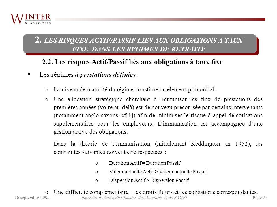 Journées détudes de lInstitut des Actuaires et du SACEI Page 2716 septembre 2005 2.