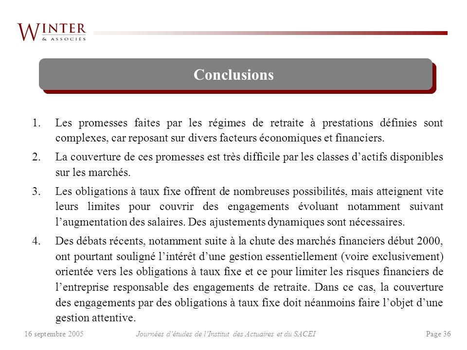 Journées détudes de lInstitut des Actuaires et du SACEI Page 3616 septembre 2005 Conclusions 1.Les promesses faites par les régimes de retraite à prestations définies sont complexes, car reposant sur divers facteurs économiques et financiers.