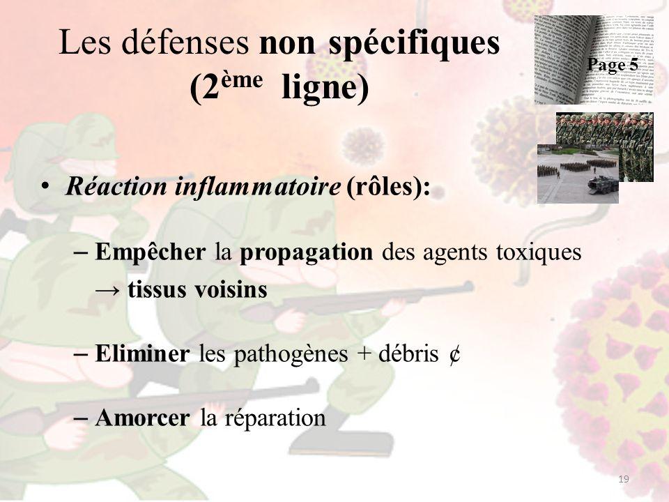 Les défenses non spécifiques (2 ème ligne) Réaction inflammatoire (rôles): – Empêcher la propagation des agents toxiques tissus voisins – Eliminer les