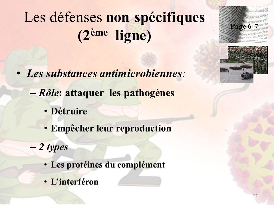 Les défenses non spécifiques (2 ème ligne) Les substances antimicrobiennes: – Rôle: attaquer les pathogènes Détruire Empêcher leur reproduction – 2 ty