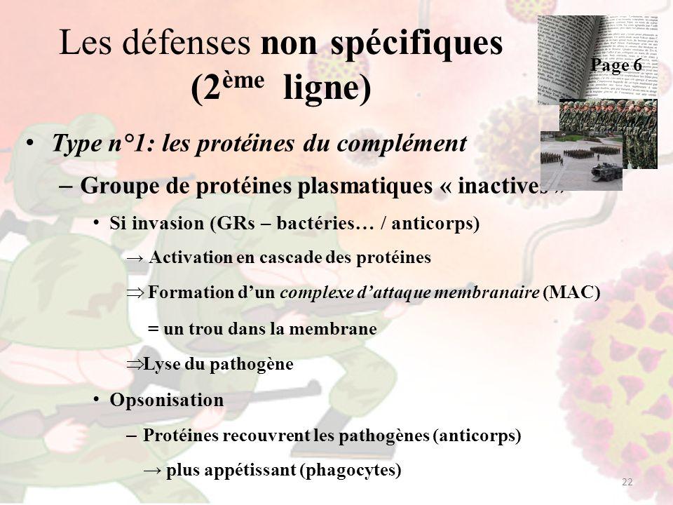 Les défenses non spécifiques (2 ème ligne) Type n°1: les protéines du complément – Groupe de protéines plasmatiques « inactives » Si invasion (GRs – b