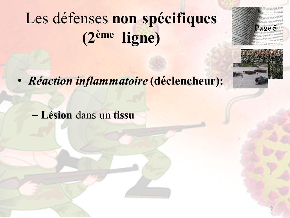 Les défenses non spécifiques (2 ème ligne) Réaction inflammatoire (déclencheur): – Lésion dans un tissu 9 Page 5