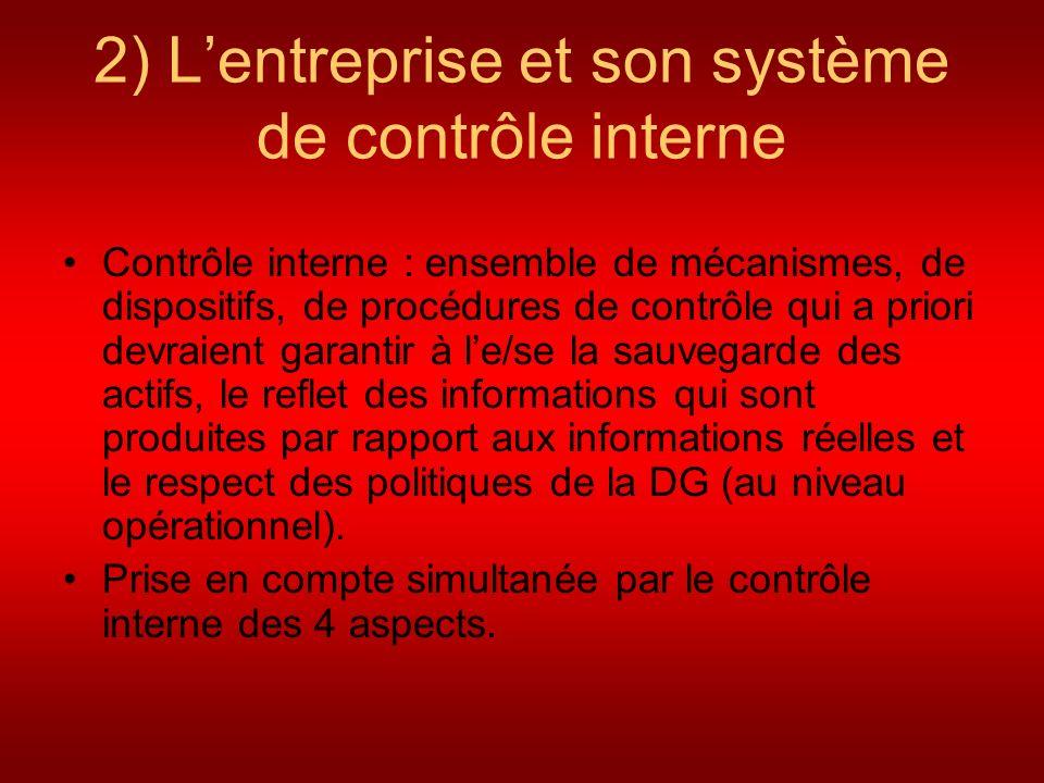 2) Lentreprise et son système de contrôle interne Contrôle interne : ensemble de mécanismes, de dispositifs, de procédures de contrôle qui a priori de