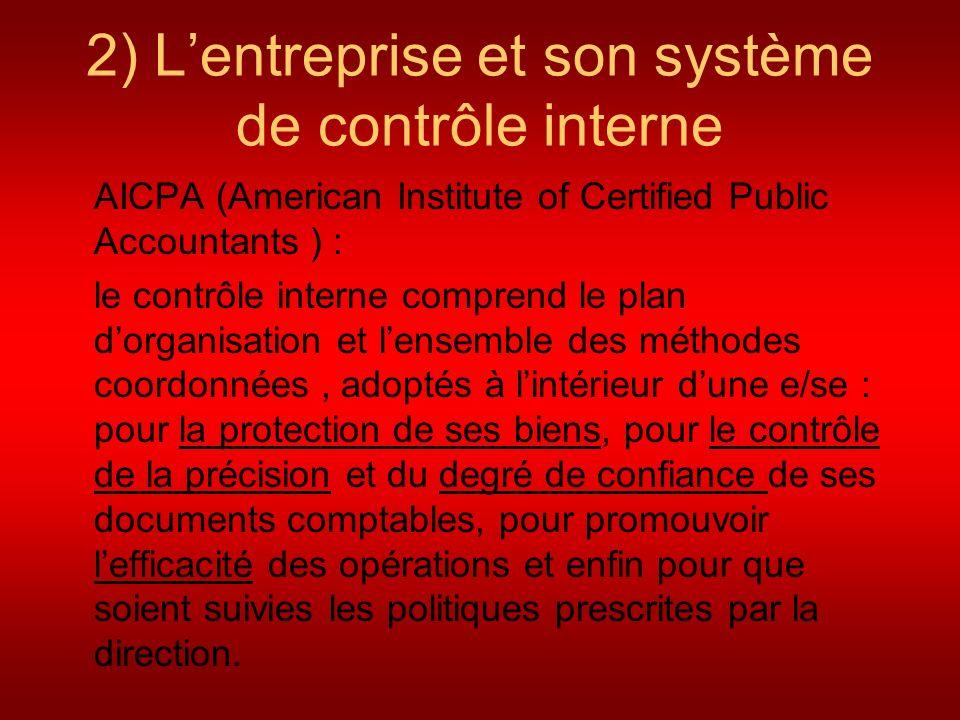 2) Lentreprise et son système de contrôle interne AICPA (American Institute of Certified Public Accountants ) : le contrôle interne comprend le plan d
