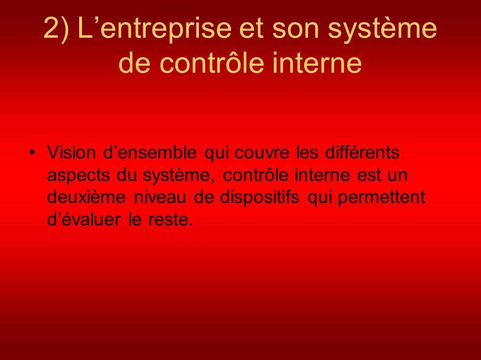 2) Lentreprise et son système de contrôle interne Vision densemble qui couvre les différents aspects du système, contrôle interne est un deuxième nive