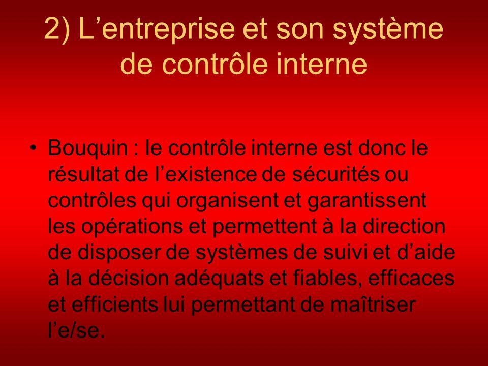 2) Lentreprise et son système de contrôle interne Bouquin : le contrôle interne est donc le résultat de lexistence de sécurités ou contrôles qui organ