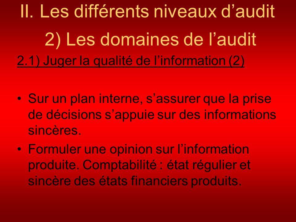II. Les différents niveaux daudit 2) Les domaines de laudit 2.1) Juger la qualité de linformation (2) Sur un plan interne, sassurer que la prise de dé