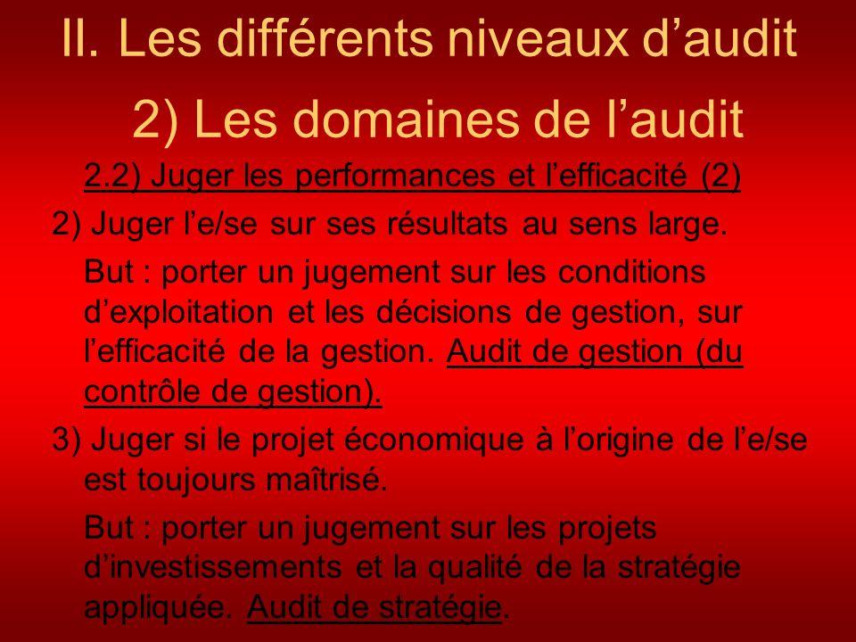 II. Les différents niveaux daudit 2) Les domaines de laudit 2.2) Juger les performances et lefficacité (2) 2) Juger le/se sur ses résultats au sens la