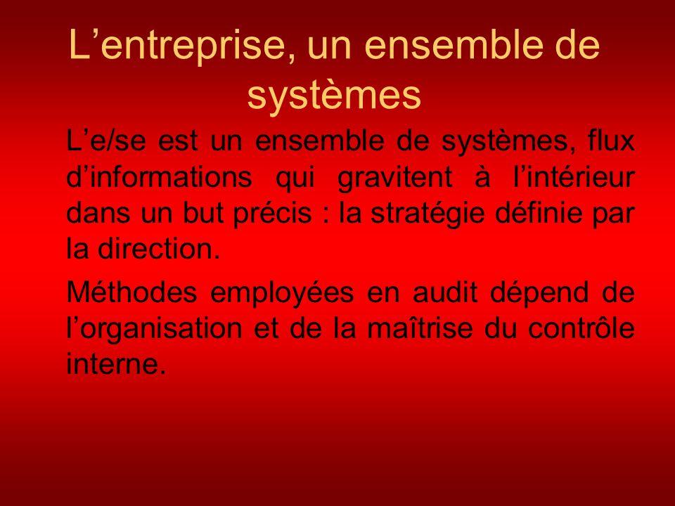 Lentreprise, un ensemble de systèmes Le/se est un ensemble de systèmes, flux dinformations qui gravitent à lintérieur dans un but précis : la stratégi