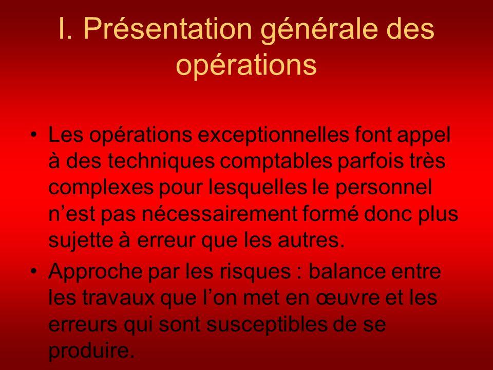 I. Présentation générale des opérations Les opérations exceptionnelles font appel à des techniques comptables parfois très complexes pour lesquelles l