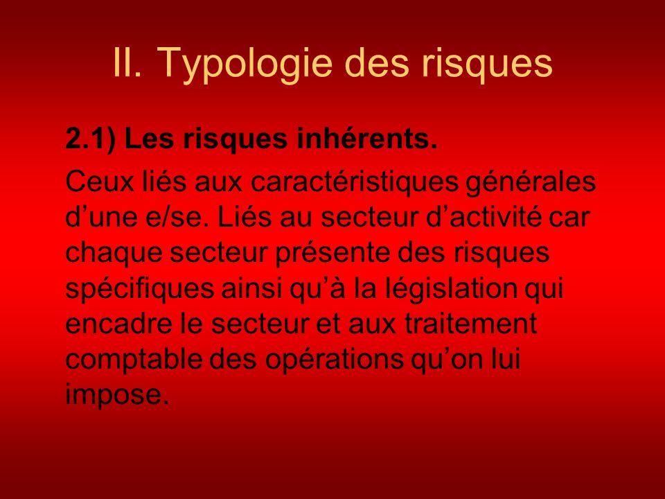 II. Typologie des risques 2.1) Les risques inhérents. Ceux liés aux caractéristiques générales dune e/se. Liés au secteur dactivité car chaque secteur