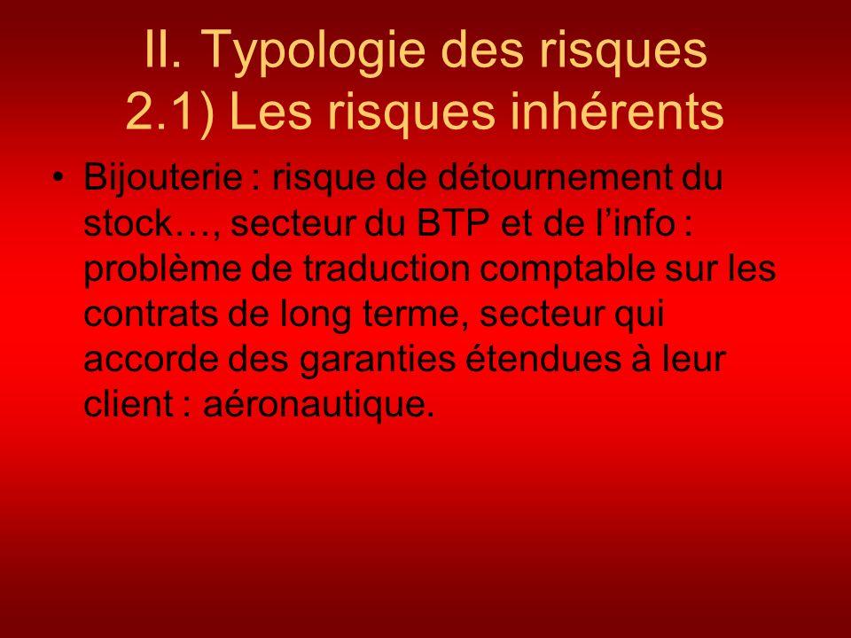II. Typologie des risques 2.1) Les risques inhérents Bijouterie : risque de détournement du stock…, secteur du BTP et de linfo : problème de traductio
