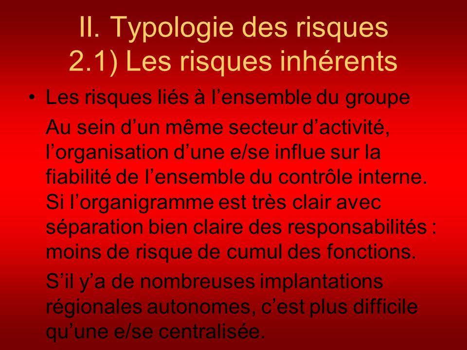 II. Typologie des risques 2.1) Les risques inhérents Les risques liés à lensemble du groupe Au sein dun même secteur dactivité, lorganisation dune e/s