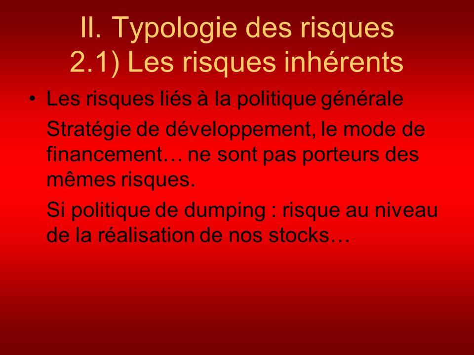 II. Typologie des risques 2.1) Les risques inhérents Les risques liés à la politique générale Stratégie de développement, le mode de financement… ne s